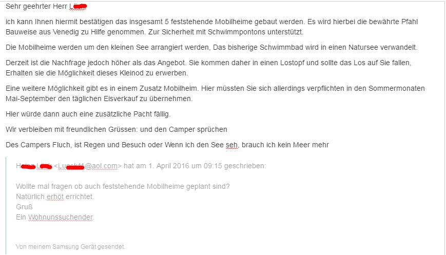 Email Anfrage Zum 1 April